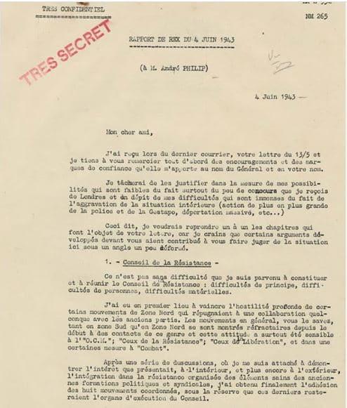 Extrait du rapport REX à André Philip