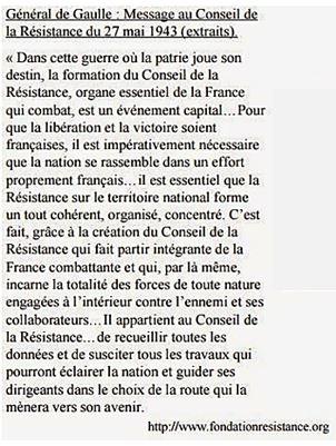 Message du Général de Gaulle au CNR