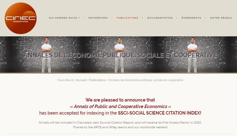 annales de l'économie publique sociale et solidaire